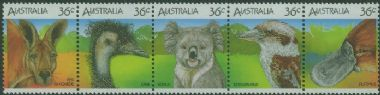 AUS SG1023a Wildlife strip of 5